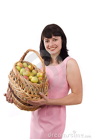 Woman with a basket of apples