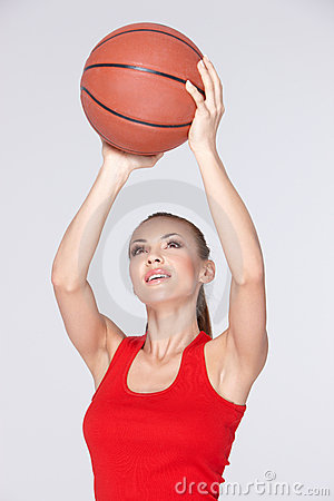 Woman with basket ball