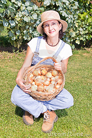 Woman with basket of onions
