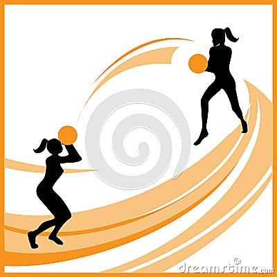 Woman basketball vector