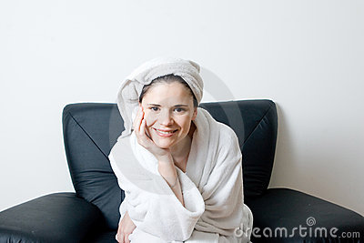 Woman after bath smiling