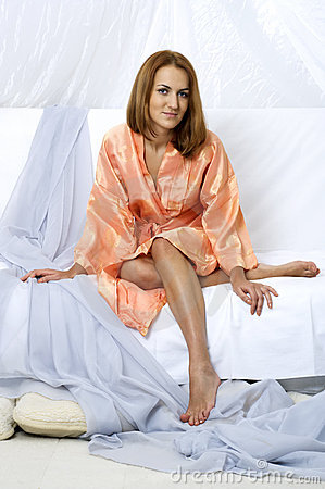 Woman in a bathrobe