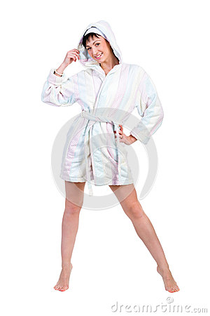 Woman in bathrobe full portrait isolated on white