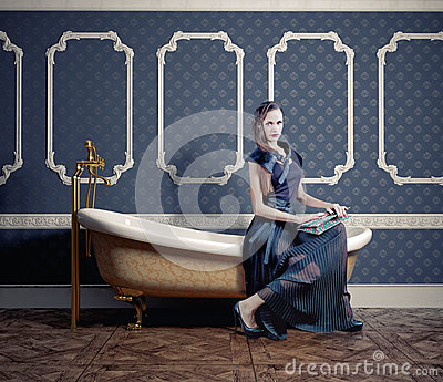 Woman on  bathtub