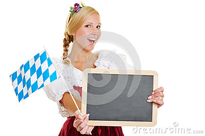 Woman with bavarian flag and blackboard