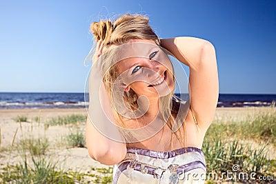 Woman  on a beach.