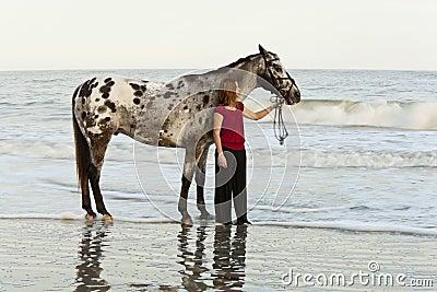 Woman on beach with appaloosa