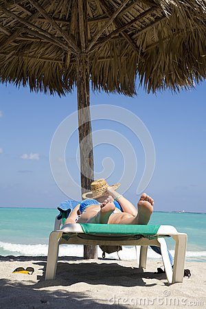 Woman on the beach in cuba
