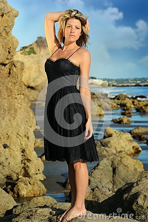 Woman on the beach in dress