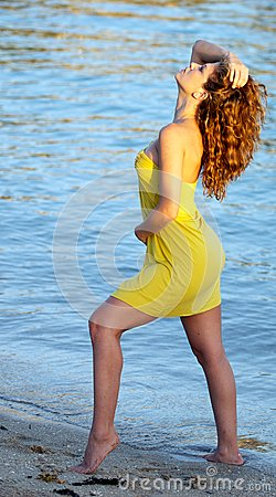 Woman at the Beach in a dress