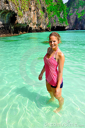 Woman on beach, Phi Phi Islands, Thailand