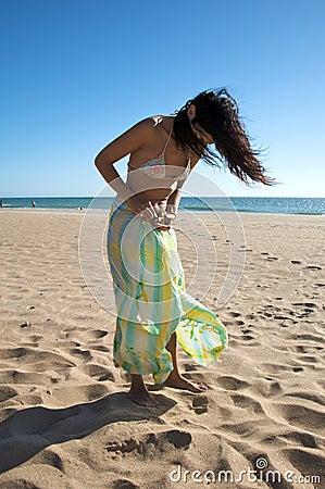 Woman with beach wrap