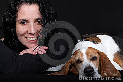 Woman with Beagle Dog
