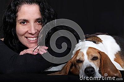 Woman with Beagle Dog