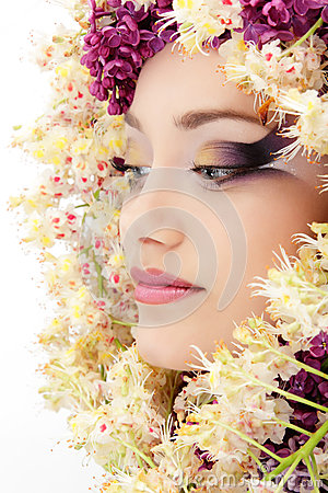 Free Woman Beautiful Face With Flower Lilac Royalty Free Stock Image - 24739876