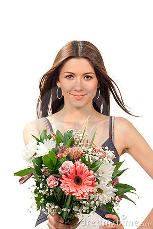 Woman with beautiful flowers roses bouquet