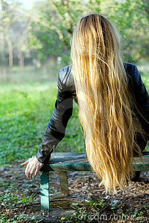 Woman with beautiful long blond hair