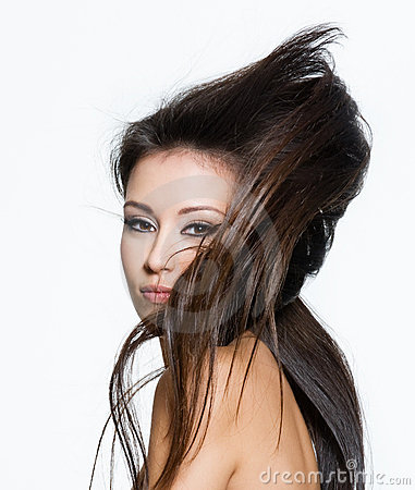 Woman with beautiful long creative hairstyle