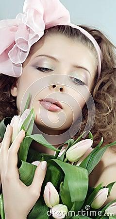 Woman beautiful pink flowers