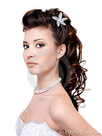 Woman with beautiful wedding hairstyle