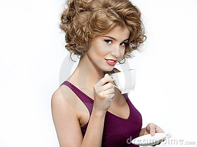 Woman beauty with cup