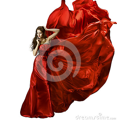 Free Woman Beauty Fashion Dress, Girl In Red Elegant Silk Gown Waving Royalty Free Stock Photo - 44983185