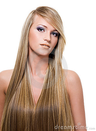 Woman with beauty  long straight hair