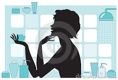 Woman with beauty products