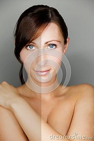 Woman beauty skin compare
