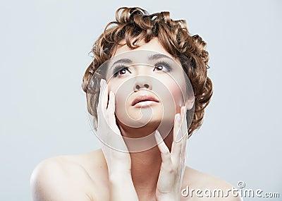 Woman beauty style close up face portrait
