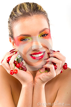 Free Woman Beauty With Cherries Royalty Free Stock Photos - 31605078