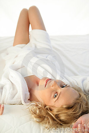 Woman on bed