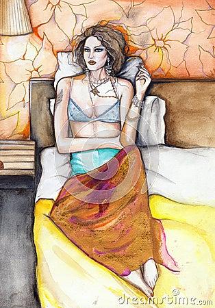 Woman in bed original watercolor painting