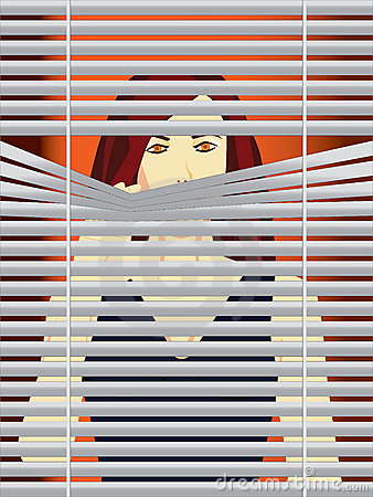 Woman behind blinds