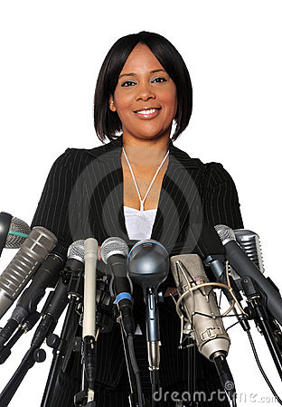 Free Woman Behind Microphones Stock Photography - 6715822