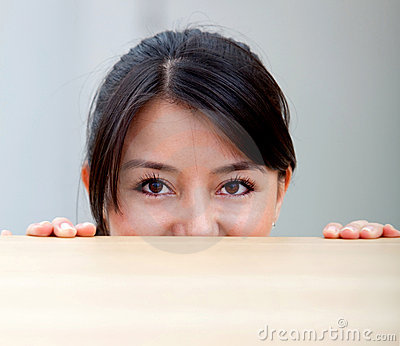 Woman behind a table