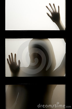 Woman behind window