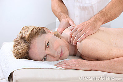 Woman being massaged
