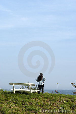 Woman and bench