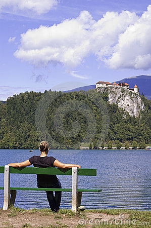 Woman On Bench, Enjoys Summer Day Royalty Free Stock Images - Image: 18536229