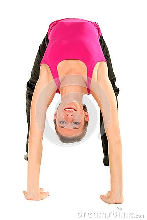 Woman bending over backwards