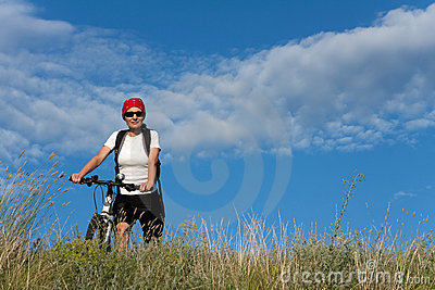 Woman on the bicycle