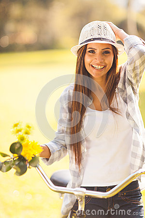 Woman bicycle outdoor