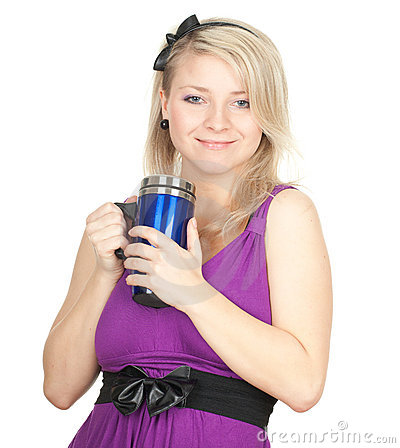 Woman with big blue cup