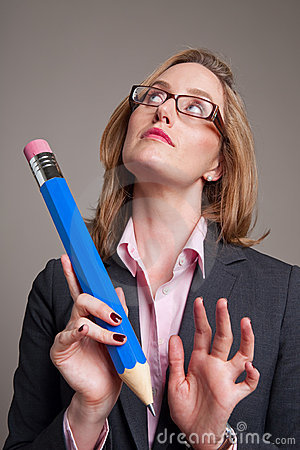 Woman with a big blue pencil