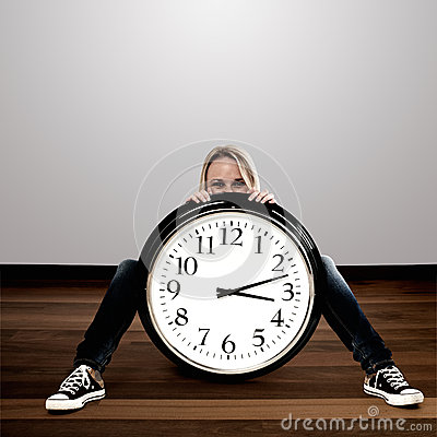 Woman with a big clock: Time Concept