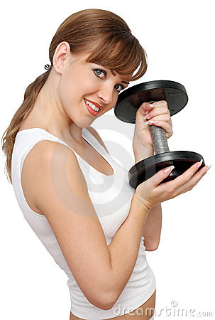Woman with big dumbbell