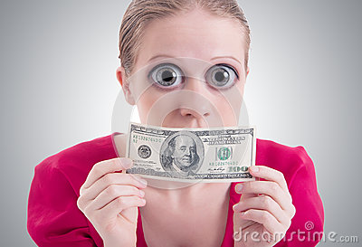 woman with a big eyes and mouth closed dollar