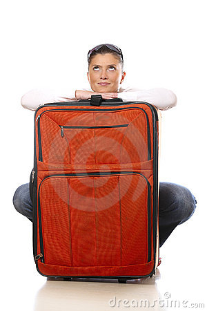 Woman with a big suitcase