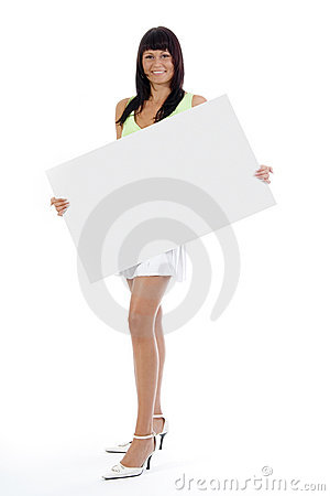 Woman with big white card.